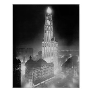 Skyscraper at Night, 1920. Vintage Photo Poster
