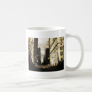 Skyscraper Shadows in the Financial District Basic White Mug