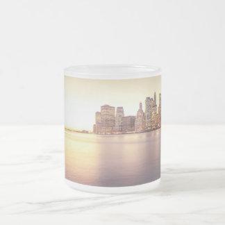 Skyscraper Skyline - New York City Sunset Frosted Glass Coffee Mug