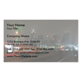Skyscraper With Neon In Downtown Dallas In Texas Business Cards