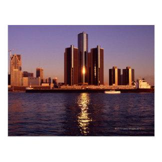 Skyscrapers by the water in Detroit 2 Postcard