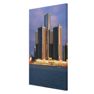 Skyscrapers by the water in Detroit 3 Canvas Print
