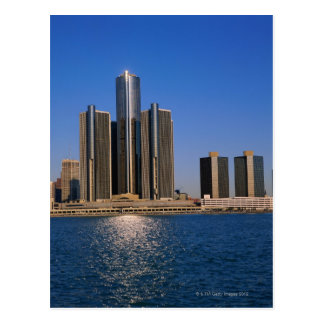 Skyscrapers by the water in Detroit Postcard