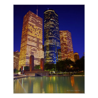 Skyscrapers in downtown Houston reflected in Poster