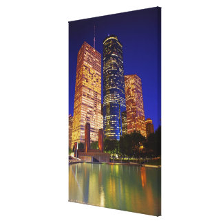 Skyscrapers in downtown Houston reflected in Stretched Canvas Print
