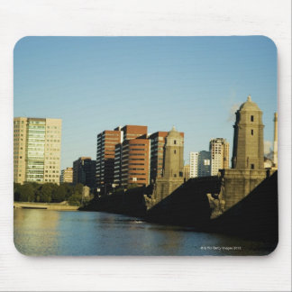 Skyscrapers near a bridge across a river, mouse pad
