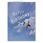 Skywriting Happy Birthday in the clouds Note Card