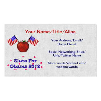 SL*TS FOR OBAMA BUSINESS CARD