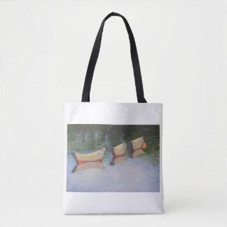 Slacktide dories on a tote bag
