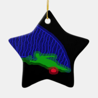Slalom Water Skier Neon Spray Ceramic Ornament