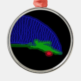 Slalom Water Skier Neon Spray Metal Ornament