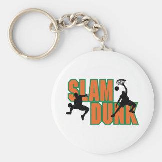 slam dunk basketball design basic round button key ring
