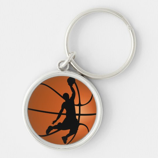 Slam Dunk Basketball Player Silver-Colored Round Key Ring