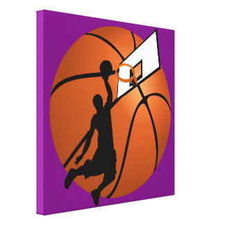 Slam Dunk Basketball Player w/Hoop on Ball Canvas Print