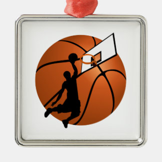Slam Dunk Basketball Player w/Hoop on Ball Metal Ornament