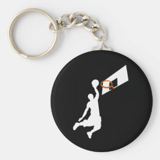 Slam Dunk Basketball Player - White Silhouette Basic Round Button Key Ring