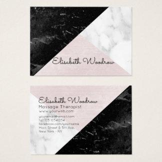 Slanted  Black, White Marble Pink Silk Geometric Business Card
