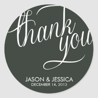 Slanted Thank You Label Wedding Stickers
