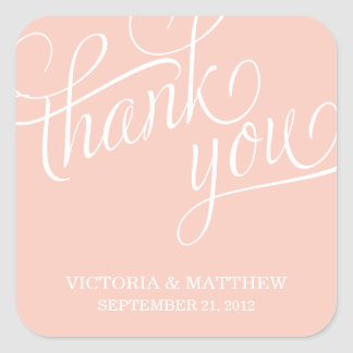 SLANTED | WEDDING THANK YOU LABEL SQUARE STICKERS