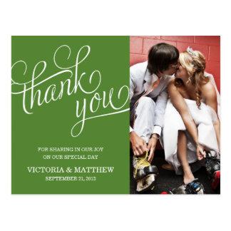 SLANTED WEDDING THANK YOU POST CARD
