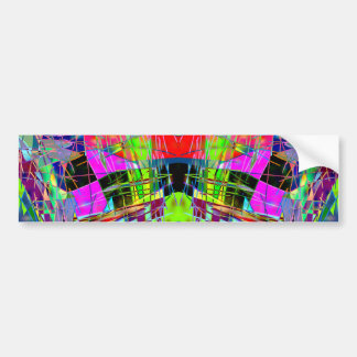 Slashes & Lines in Lime Green & Pink Bumper Sticker