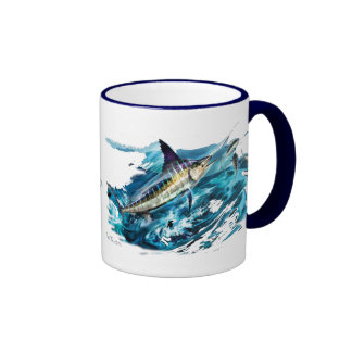 Slashing Marlin Jumping with Tuna Mug