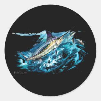 Slashing Marlin Jumping with Tuna Round Sticker