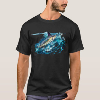 Slashing Marlin Jumping with Tuna T-Shirt