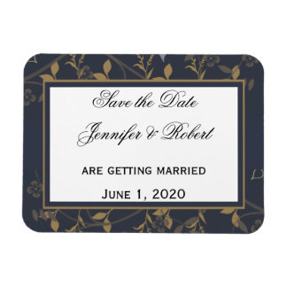 Slate and Gold Natural Wonder Save the Date Rectangle Magnets