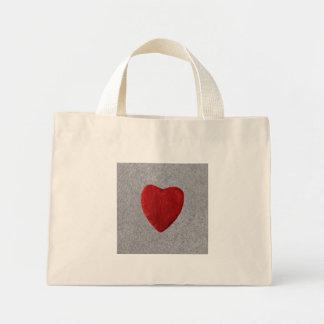 Slate background with heart mini tote bag