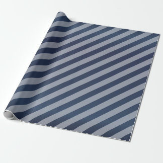 Slate Blue and Diagonal Stripes Wrapping Paper