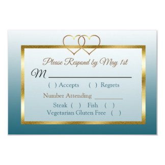 Slate Blue and Gold Gradient Wedding RSVP card