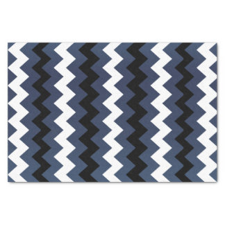 Slate Blue, Black and White Chevron Tissue Paper