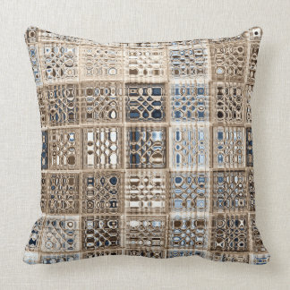 Slate Blue Brown Sari Mosaic Pattern Art Throw Pillow
