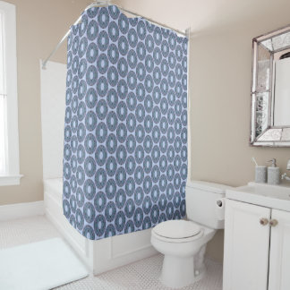 Slate blue circle mosaic tiles shower curtain