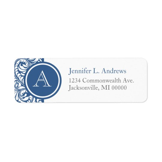 Slate Blue Damask Monogram Address Return Labels