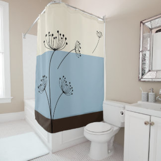 Slate Blue, Ivory and Brown Wildflower Shower Curtain