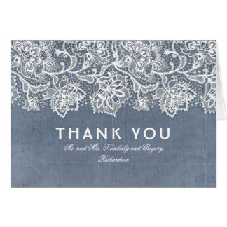 Slate Blue Vintage Lace Wedding Thank You Card