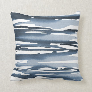 Slate Blue Watercolor Abstract Stripes Cushion