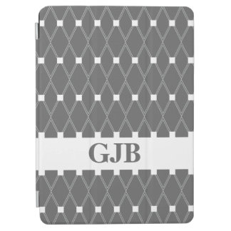 Slate Gray Argyle Lattice with monogram iPad Air Cover