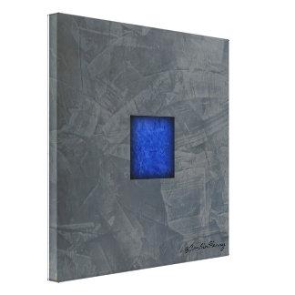 Slate Grey Cobalt Blue Modern Art With Signature Canvas Print