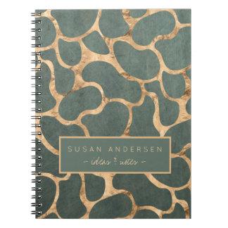 Slate grey rose gold stylish wallpaper pattern notebook