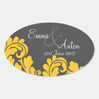 slate grey & yellow damask Save the date sticker