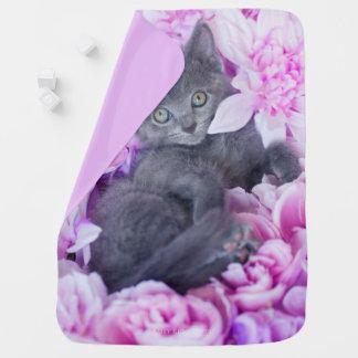 Slater Kitten Purple Floral Baby Blanket
