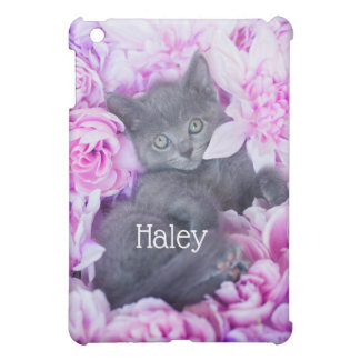 Slater Kitten Purple Floral iPad Mini Cover