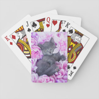 Slater Kitten Purple Floral Playing Cards