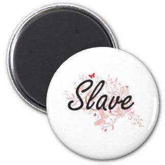 Slave Artistic Job Design with Butterflies 6 Cm Round Magnet