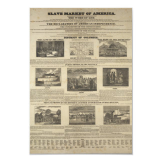 SLAVE MARKET OF AMERICA 1836 Broadside 9 Cm X 13 Cm Invitation Card