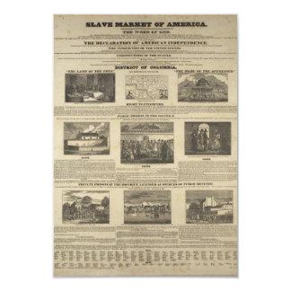 SLAVE MARKET OF AMERICA 1836 Broadside 9 Cm X 13 Cm Invitation Card