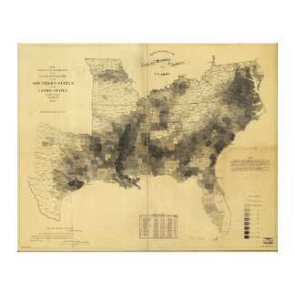 Slavery Population Map Southern States Civil War Stretched Canvas Prints